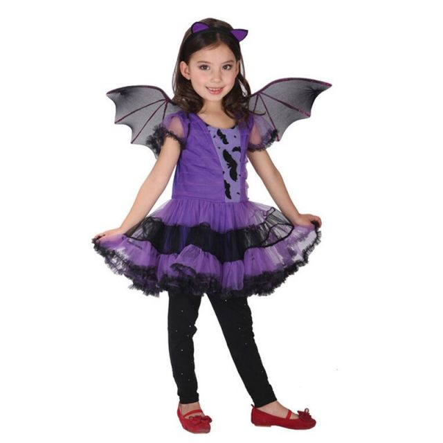 Girl's Bat Costume With Wings