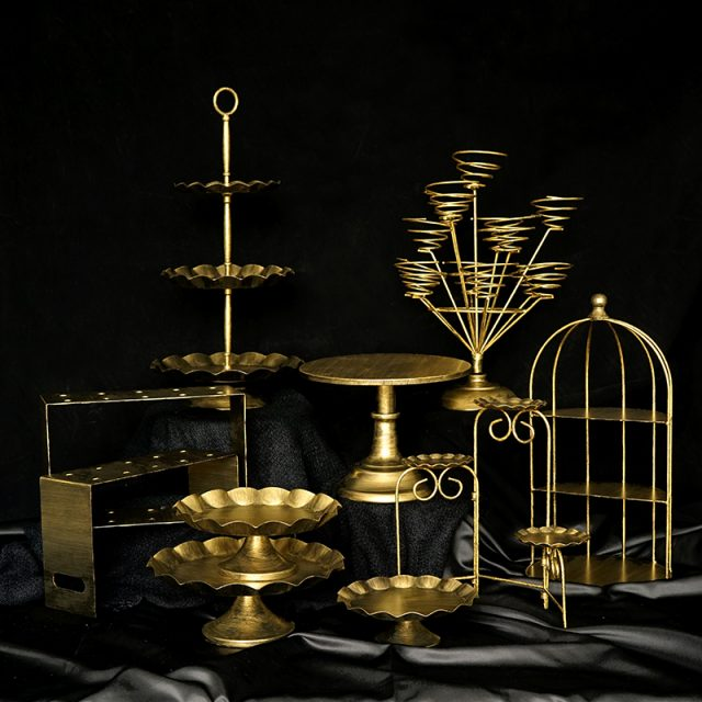 Vintage Gold Metal Cake Stands