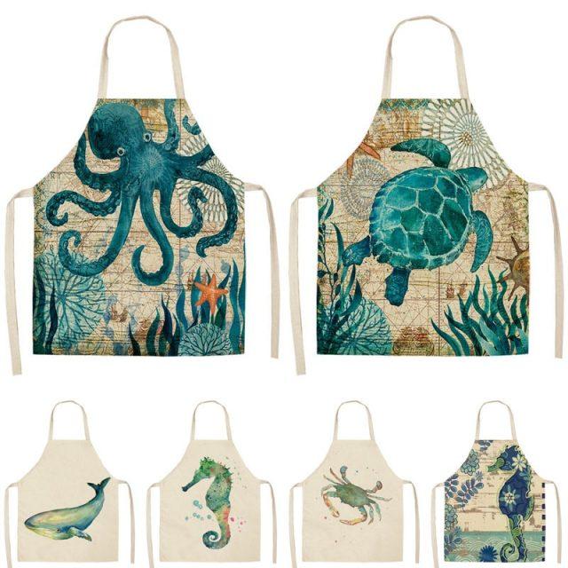 Unisex Sea Animals Printed Kitchen Apron