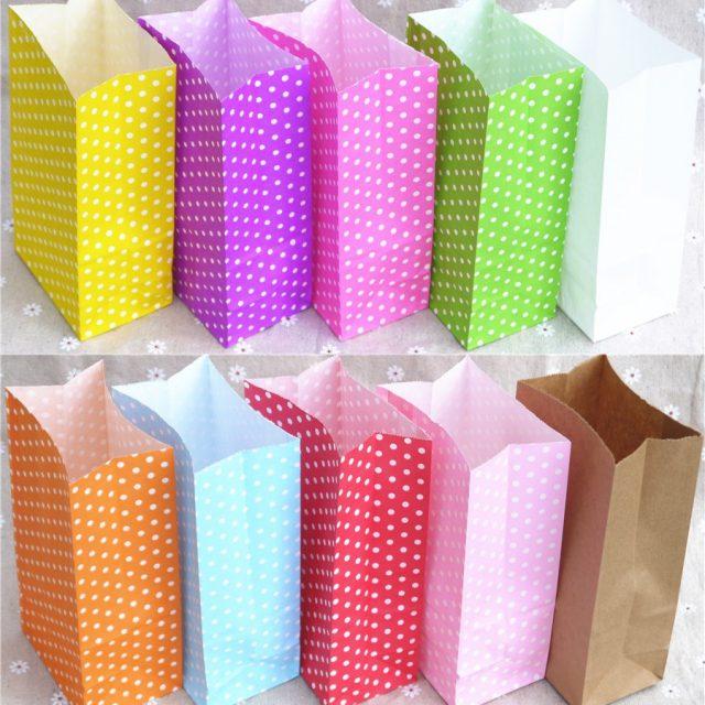 Set of 10 Polka Dot Paper Bags