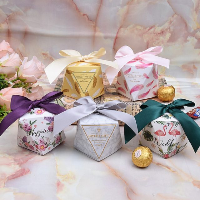 (100/50/20pcs) Glamorous Colored Gift Boxes for Wedding/Baby Shower/ Birthday/Event Party