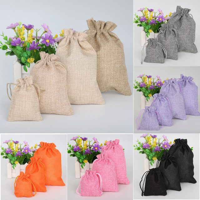Vintage Colorful Natural Burlap Candy Gift Bags