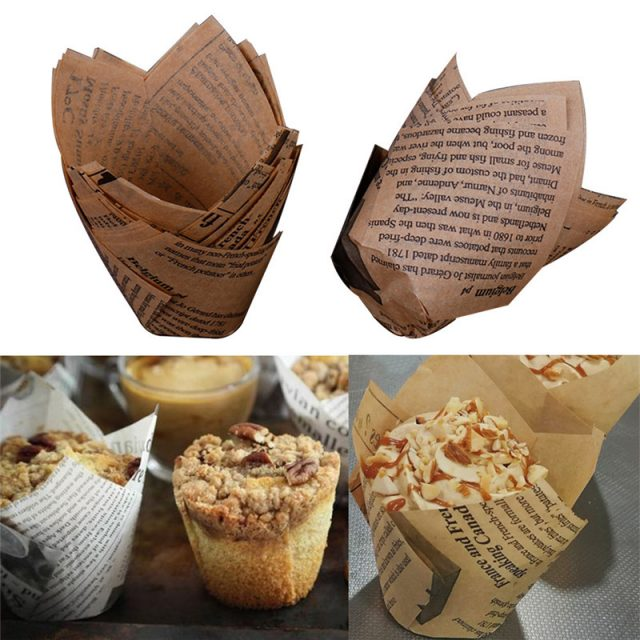 Cute Newspaper Styled Greaseproof Eco-Friendly Paper Cupcake Cases Set