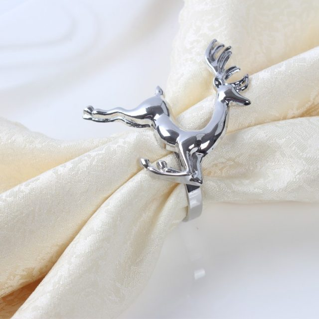 Elegant Deer Zinc Alloy TableNapkin Rings Set