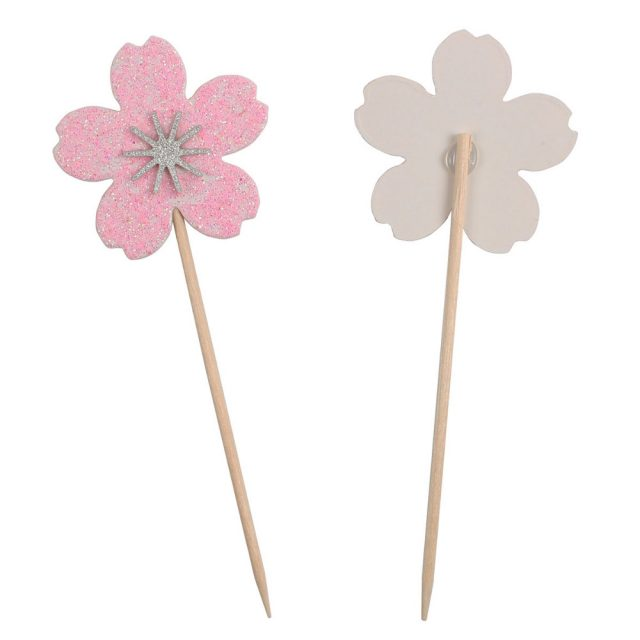Set Pink Flower Cupcake Toppers