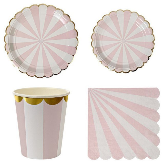Cute Striped Disposable Paper Tableware