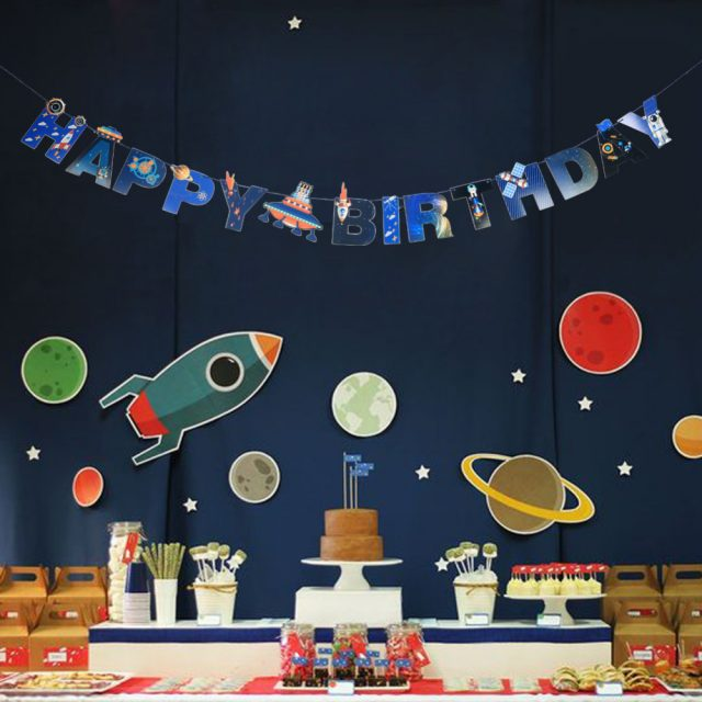 Space Printed Happy Birthday Banner