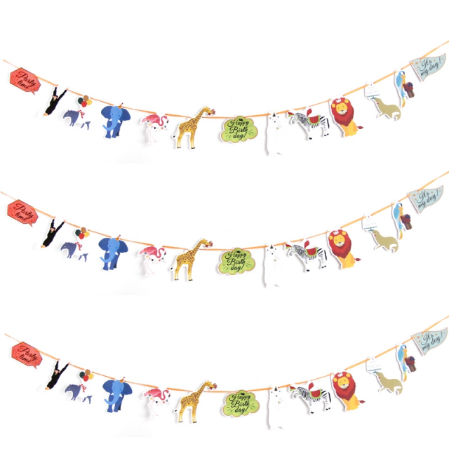 Kid's Birthday Party Animal Banners