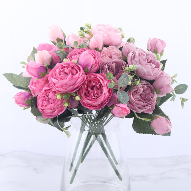 Pink Peony and Rose Home Decor Artificial Flowers Bouquet