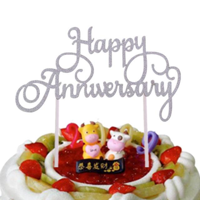 Glittery Happy Anniversary Cake Topper