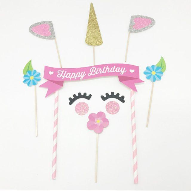 Unicorn Happy Birthday Cake Decorations